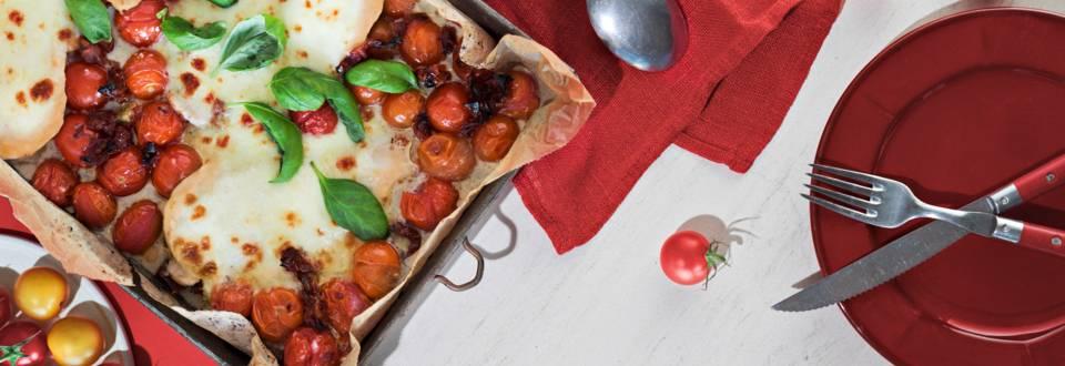 Mozzarellakana ja paahdetut tomaatit