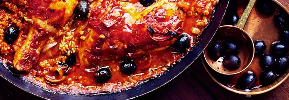 Tomaattinen broileri-kauravuoka